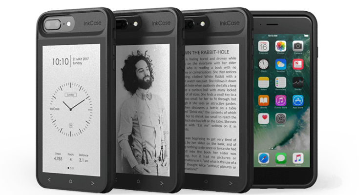 inkcase e-ink achterop iphone